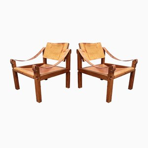 French Cognac Leather and Oak Model S10 Sahara Lounge Chairs by Pierre Chapo, 1960s, Set of 2