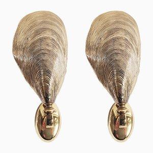 Apliques en forma concha de mejillón de bronce, años 70. Juego de 2