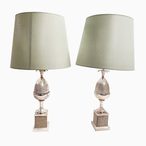 Vintage Acorn Table Lamps, 1970s, Set of 2
