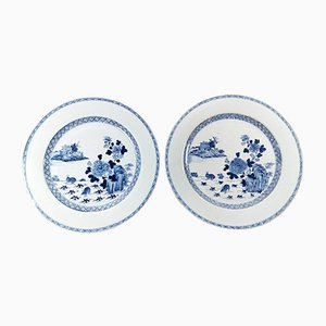 Large Antique Chinese Cobalt Blue Porcelain Plates, Set of 2