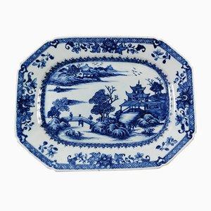 Antikes chinesisches Porzellantablett in Kobaltblau, 1760er
