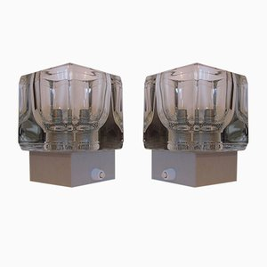 Vintage Aluminum and Glass Wall Lamps from Peill & Putzler, 1970s, Set of 2