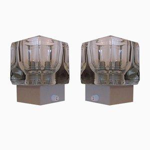 Vintage Wandlampen aus Aluminium & Glas von Peill & Putzler, 1970er, 2er Set