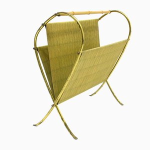 Brass and Bamboo Magazine Rack, 1960s