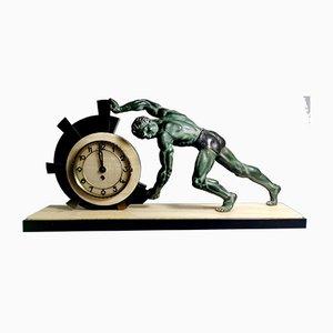 Grande Horloge Sculpturale Art Déco en Bronze, Marbre, Albâtre et Laiton, France, années 30