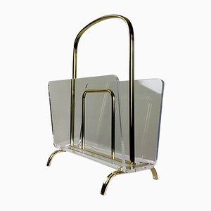 Brass and Lucite Magazine Rack, 1970s