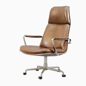 Vintage Brown Leather Swivel Chair by Preben Fabricius & Jørgen Kastholm for Kill International