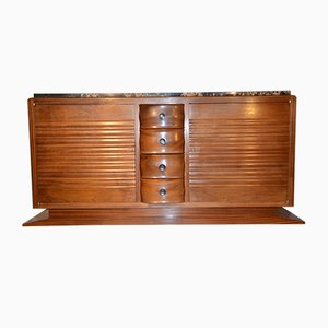 Art Deco French Solid Mahogany and Marble Credenza by Gaston Poisson, 1940s