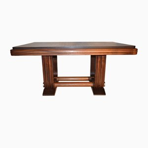 Art Deco French Solid Mahogany Extendable Dining Table by Gaston Poisson, 1940s