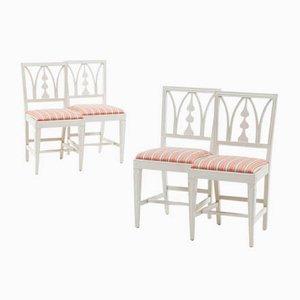 Antike weiße Esszimmerstühle, 1880er, 4er Set