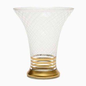 Vase Trompette Art Déco en Verre de Gebrüder Podbira