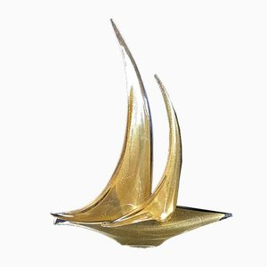 Vintage Golden Murano Glass Boat Sculpture by Gianni Seguso for Cosa Bella