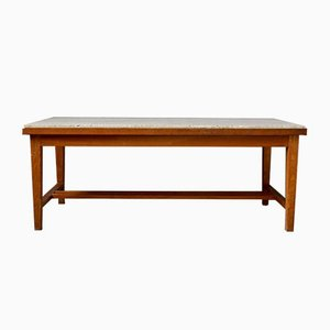French Wooden and Travertine Coffee Table, 1960s