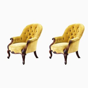 Antique Rosewood Armchairs, 1850s, Set of 2