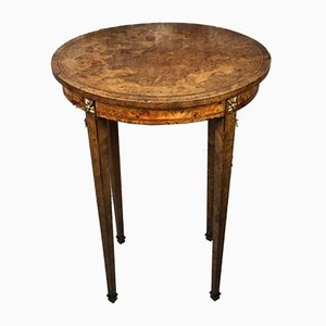 Vintage Louis XVI Style Elm Veneer and Bronze Oval Pedestal Table