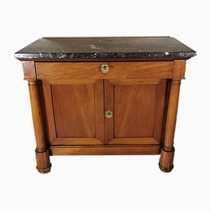 Small Antique French Empire Cherrywood and Black Marble Sideboard, 1850s