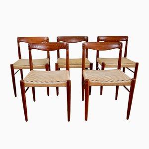 Sedie da pranzo in teak di H.W. Klein per Bramin, Scandinavia, anni '60, set di 5