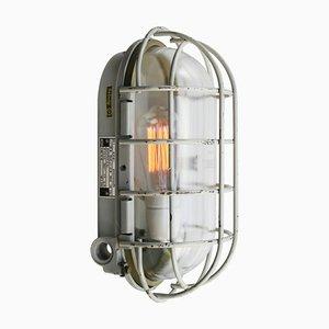 Applique Mid-Century industriale in metallo grigio e vetro trasparente
