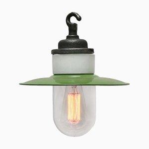 Lampe à Suspension Industrielle Mid-Century en Fonte Émaillée, Porcelaine et Verre
