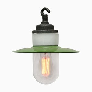 Mid-Century Industrial Green Enamel Cast Iron, Porcelain, and Glass Pendant Lamp
