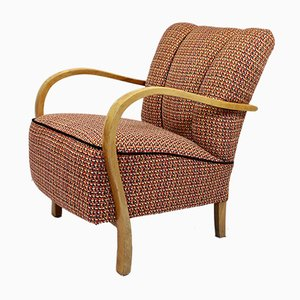 Art Deco Curved Wood Lounge Chair, 1920s