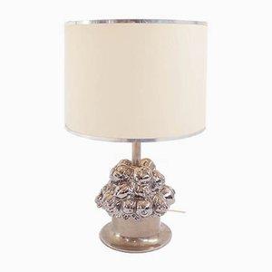 Silberne italienische Tischlampe aus Keramik & Stahl von Gabriella Crespi, 1960er