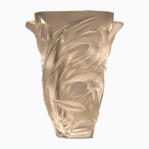 French Satin Crystal Vase by René Lalique