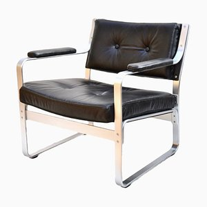 Swedish Black Leather and Aluminum Mondo Armchair by Karl Erik Ekselius for JOC Vetlanda, 1970s