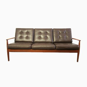 Teak and Leather 3-Seater Sofa by Grete Jalk for France & Søn / France & Daverkosen, 1960s