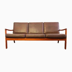 Teak and Leather 3-Seater Senator Sofa by Ole Wanscher for Cado, 1960s