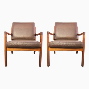 Teak and Leather 2-Seater Senator Lounge Chairs by Ole Wanscher for Cado, 1960s, Set of 2