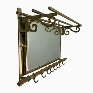 Art Deco Brass Coat Rack with Faceted Mirror, 1920s