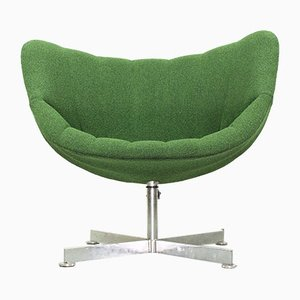 Mid-Century Bamboo Swivel Lounge Chair by Rudolf Wolf for Rohé Noordwolde