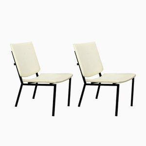 Mid-Century Industrial Black Metal Tube Lounge Chairs, Set of 2
