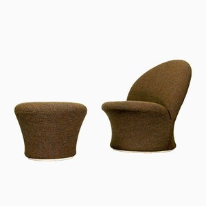 Model F572 Lounge Chair and Mushroom Ottoman Set by Pierre Paulin for Artifort, 1960s