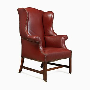 Antique Wingback Red Leather and Mahogany Armchair