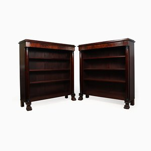 Antique French Empire Mahogany Bookshelves, Set of 2