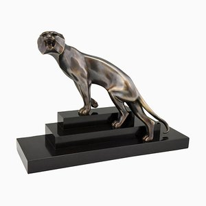 Art Deco Bronze Panther Sculpture by Georges Lavroff, 1920s