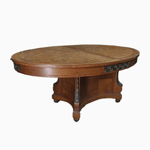 Mesa de comedor extensible estilo Luis XVI vintage de roble y bronce con incrustaciones, años 20