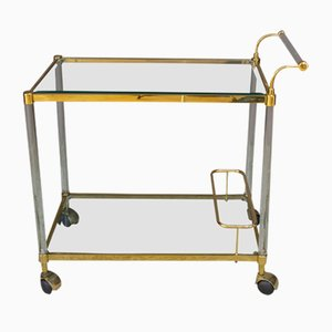 Vintage Italian Brass, Plexiglass, and Glass Trolley