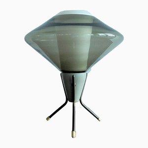 Lámpara de mesa Mid-Century de vidrio y metal con trípode, años 60