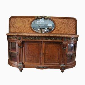 Bufet estilo Lois XVI vintage de roble, bronce, mármol y vidrio biselado, años 20