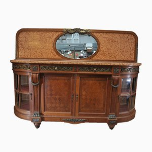 Vintage Louis XVI Style Oak, Bronze, Marble, and Beveled Glass Buffet, 1920s