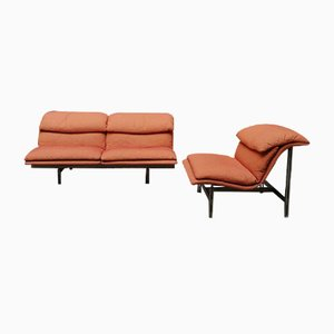 Italian Steel and Fabric Wave Sofa and Armchair Set by Giovanni Offredi for Saporiti Italia, 1970s