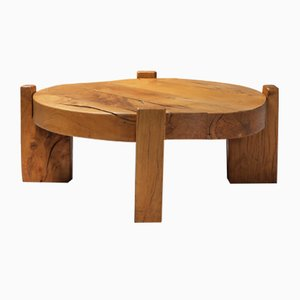 Solid Oak Round Coffee Table, 1960s