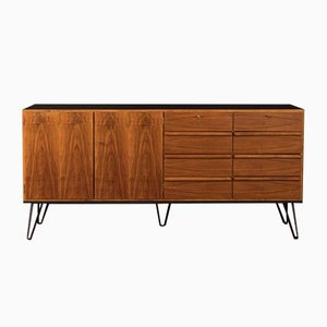 Walnut Veneer and Black Formica Sideboard, 1950s