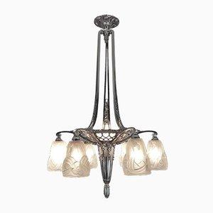Lámpara de techo de bronce niquelado de Degue para Cristallerie Compiegne, años 20