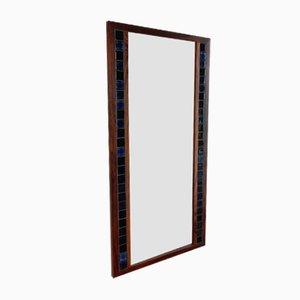 Dänischer Vintage Spiegel mit Rahmen aus Palisander & blauen Fliesen