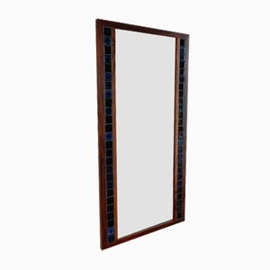 Vintage Danish Rosewood and Blue Tiled Mirror