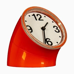 Orange Cronotime Table Clock by Pio Manzù for Ritz Italora, 1960s
